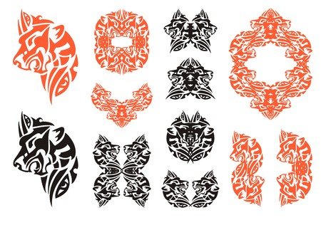 The growling lions head - a set of tattoos and decorative elements for your design