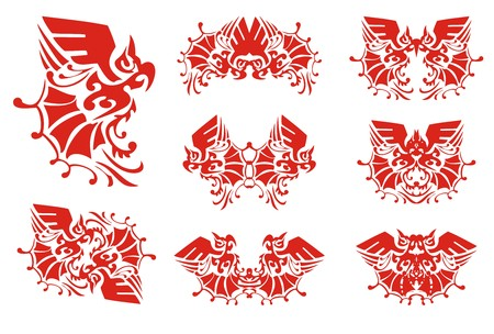 twirled: Flaming ornate parrot and double parrot symbols. Set of decorative parrot symbols for your design. Red on white