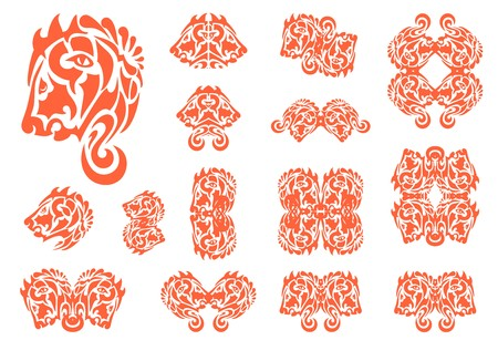 Flaming stylized lion head symbols. Double symbols of the lions head, lions frames and other symbols for your design. Red on white