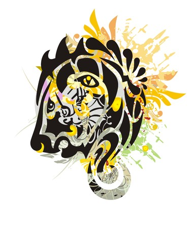 splattered: Grunge tribal stylized lion head. Growling lion head with colorful floral splashes and blood drops
