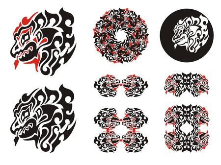 Fiery dragon head design. Haida dragon style tattoo, dragon frames and dragon circle Illustration
