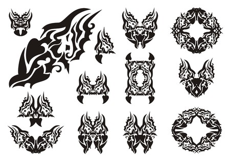 Wavy dragon symbols. Dangerous symbols of a dragon, butterfly of a dragon and dragon frames. Black on white