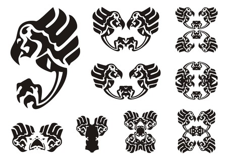 Eagle symbols in tribal style. The attacking eagle and symbols from it for your design