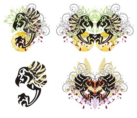 Grunge eagle splashes. Eagle symbols with floral splashes and blood drops