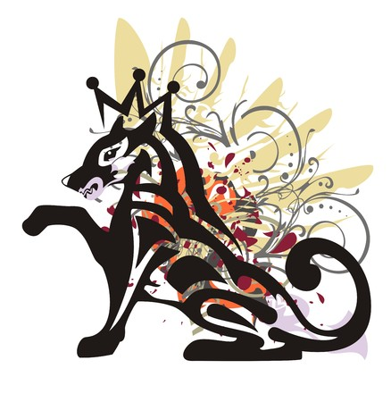 gaze: Tribal grunge dog. The with a crown, colorful splashes and blood drops
