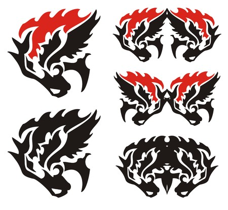 Flaming horse head and double horse head symbols. Character set of the horse head in black-red options