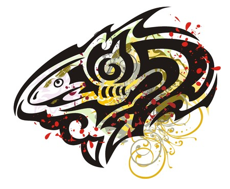 twirled: Grunge twirled shark. Tribal shark with floral splashes and blood drops