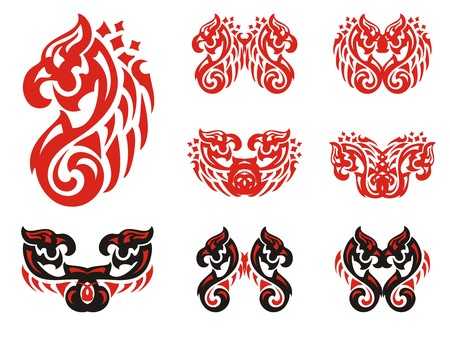 Flaming stylized twirled eagle symbols. Double eagle symbols in red and black options in tribal style