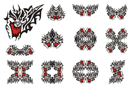 terrify: Awful dragon head symbols. Big collection of the heads of dragons with an open jaw and dragon frames inspiring fear in black-red options Illustration