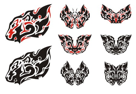 Flaming lion head symbol and butterflies from it. Flaming lion set, great for vehicle graphics, tattoos, stickers and T-shirt designs. Ready for vinyl cutting