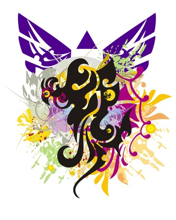 Grunge Phoenix symbol. The reviving bird with colorful splashes