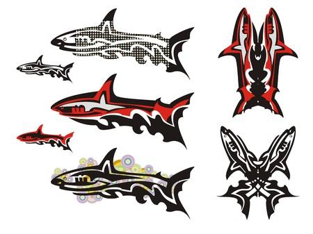 Tribal shark set. Double shark symbol, a shark with dots, a shark with colorful circles