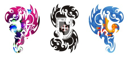 Scary stylized tribal eagle symbols. Aggressive eagle with pattern inside - three options
