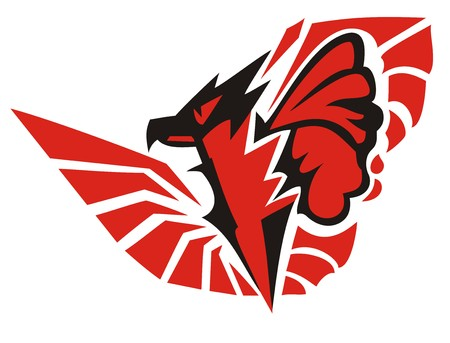 Awful stylized eagle symbol with butterfly wing. Scary peaked eagle symbol in black and red colors Illustration