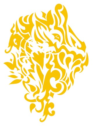 Sunny lion head. Stylization of the lion head with tropical motives
