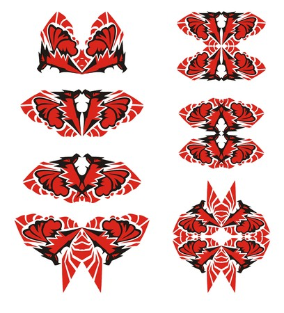 Tribal double eagle symbols with butterfly wing. Scary peaked eagle set in black and red colors Illustration