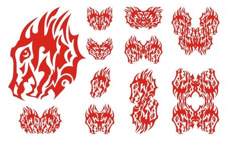 Flaming aggressive dragon head set. Fiery dragon design collection