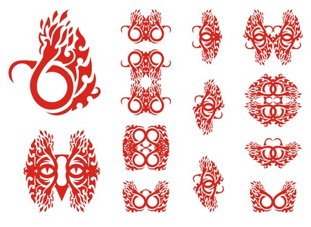Fire stylization collection. Tribal fire flames set tattoos