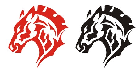 Horse head tattoo. Red and black tribal horse for mascot, tattoos or equestrian sports design