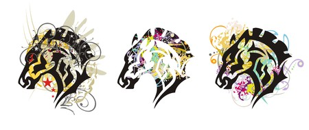 Grunge horse head - three options. Tribal horse with colorful splashes