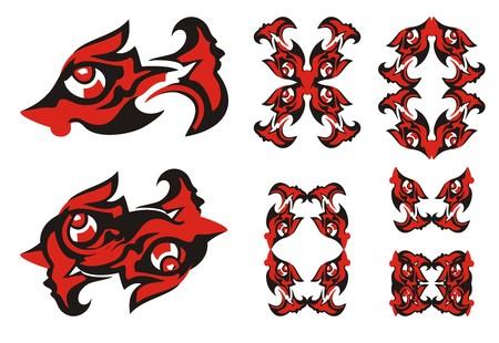 Freakish fish symbols. Ornate bizarre fish, fish frames in black and red options Illustration