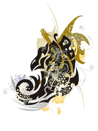 winged dragon: Grunge twirled eagle with dragon. Stylization of the eagle head with colorful splashes Illustration