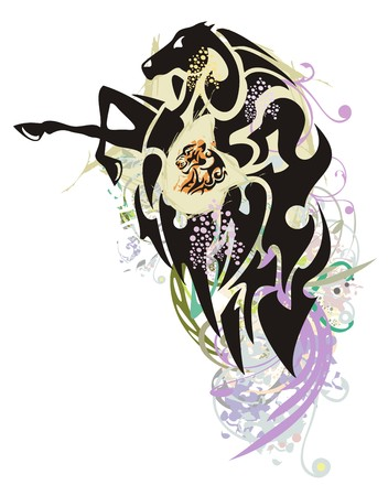 rearing: Horse colorful splashes. The rearing grunge black horse