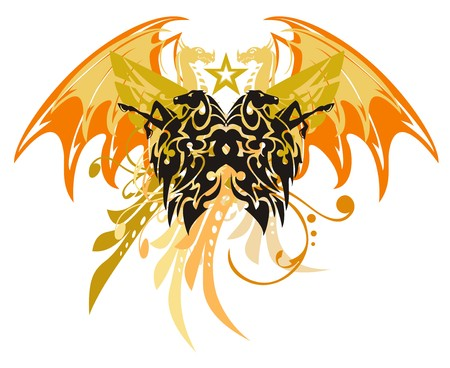 winged dragon: Tribal horse butterfly with dragon wings. The rearing horses in the form of a butterfly against the background of winged dragons with a star in grunge style