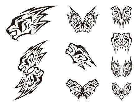 Simboli della testa del leone, sotto forma di un fulmine. simboli doppie del capo del leone in stile tribale