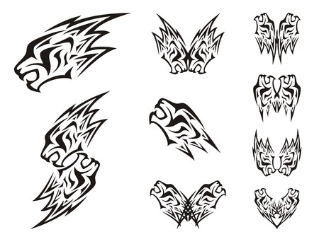 growl: Symbols of the lions head in the form of a lightning. Double symbols of the lions head in tribal style
