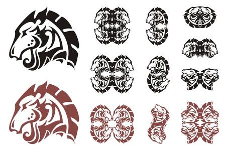 Stylized horse head symbols. Decorative double symbols of the horse head