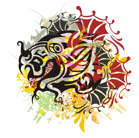 Grunge scary dragon head. Close up freakish tribal dragon head with colorful splashes and blood drops