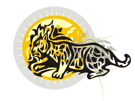 Lynx against the ornate sun. Tribal lynx with splashes and decorative sun for your design