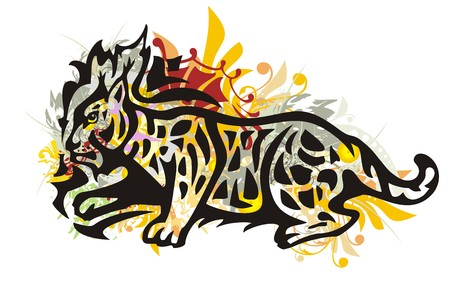 gazing: Grunge tribal lynx. Colorful lynx splashes in the movement isolated on a white background
