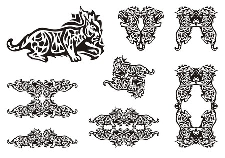 gazing: Tribal lynx symbols. Lynx in the movement and symbols from her