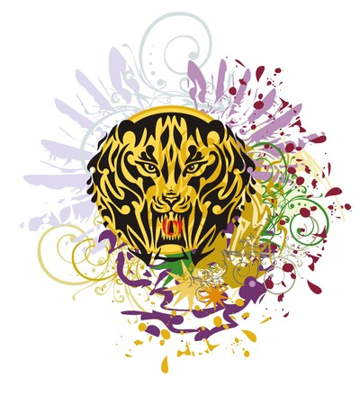 saber tooth: Grunge saber toothed tiger head. Saber-toothed tiger against colorful splashes with blood drops
