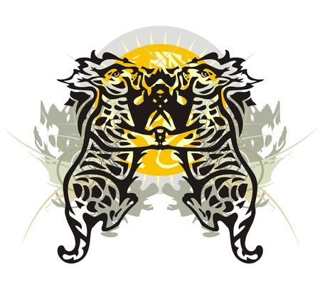 gazing: Two tribal lynxes. Grunge lynxes against the decorative sun for your design Illustration