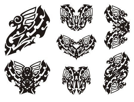 stylization: Tribal eagle set. Stylization of an eagle and double eagle symbols. Black on white