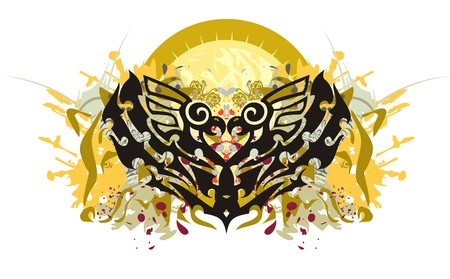 Grunge eagle heart. The stylized eagle heart against the decorative sun with colorful splashes, the heads of a wolf and blood drops Illustration