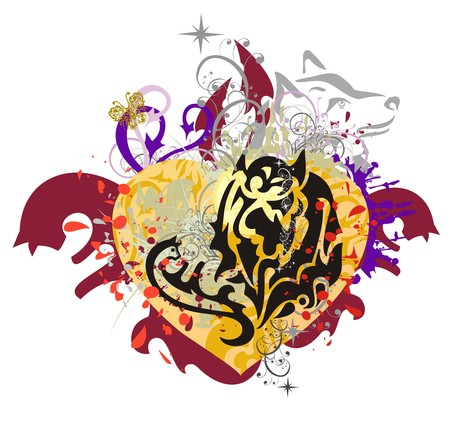 Grunge tribal heart. The orange stylized heart with colorful floral splashes, cats, arrows, asterisks, the head of a wolf and blood drops Illustration