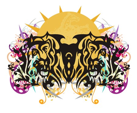 Horse and tiger splashes against the ornate sun. Grunge abstract imaginary animal and orange decorative sun Illustration