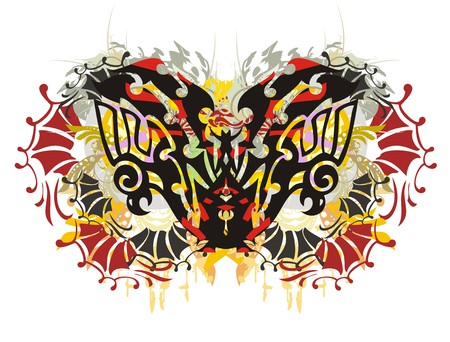 textural: Colorful eagle butterfly. Grunge tribal eagle butterfly with floral splashes Illustration