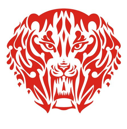 saber tooth: Flaming saber toothed tiger head. The stylized head of a saber toothed tiger in tribal style