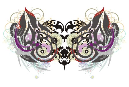 Grunge two-headed eagle. Aggressive tribal two-headed eagle with colorful splashes