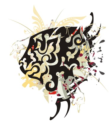 Grunge lion head with blood drops. Tribal abstract lion head with colorful splashes