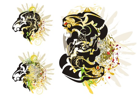 growling: Grunge imaginary animal head. Tribal abstract stylized growling imaginary animal with colorful floral splashes, eagle wing and blood drops. Three options Illustration