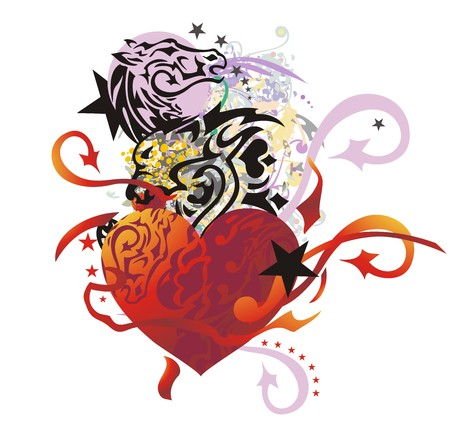 Unusual heart in grunge style. Tribal heart with arrows, with the lion head and horse head with floral splashes and asterisks