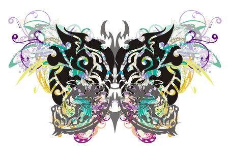 twirled: Grunge tribal butterfly. The butterfly with floral splashes formed by the heads of an eagle and the heads of a horse