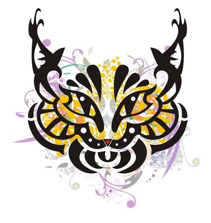 gaze: Grunge stylized lynx head. Orange and violet splashes in the head of a lynx