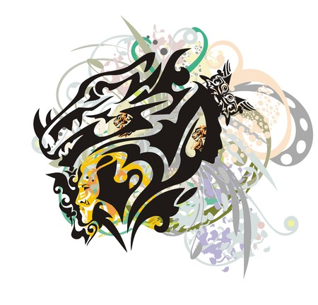 textural: Grunge unusual dragon head. The stylized horned dragon whose neck is formed by womans faces, with colorful floral splashes